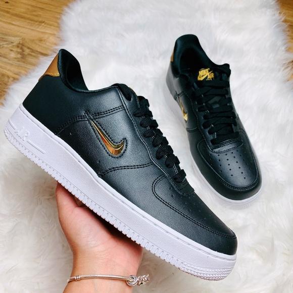 New Nike Air Force 1 Low Jewel Black Metallic Gold